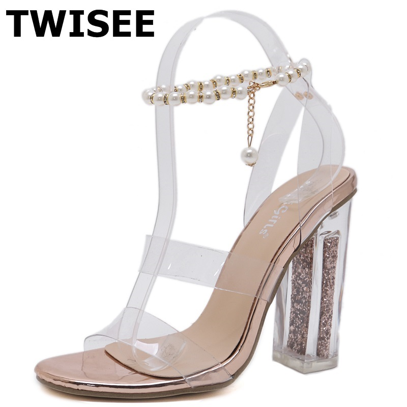 Sandals chaussure femme string bead new style fashion round toe square heels 12 cm woman ...
