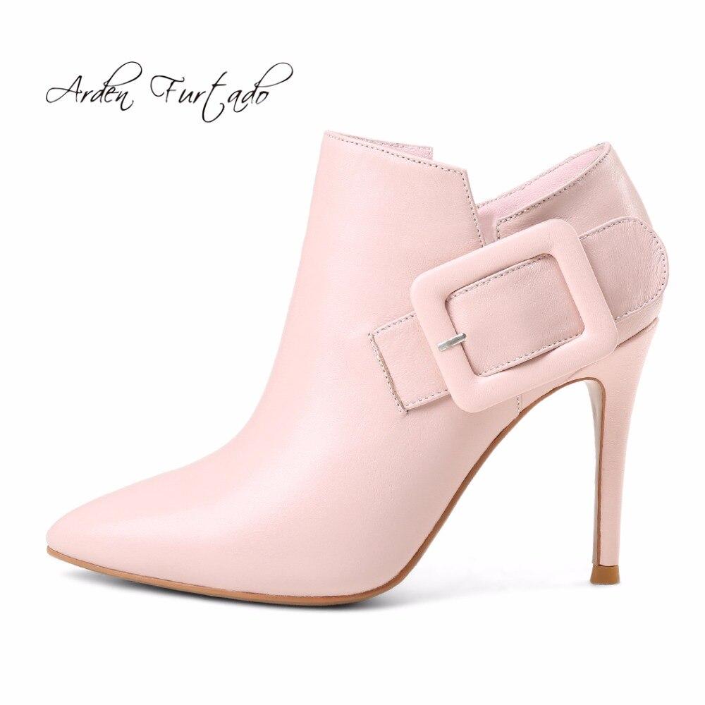 Aiguilles Hauts Bottes pink Furtado 9 Bottines Femme Pour Cuir Cm Rose Black Véritable Talons En Chaussures Printemps Boucle Mode Arden 2018 Zipper f6xvqHq