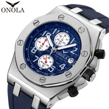 ONOLA спортивные часы водонепроницаемые Дата Календарь аналоговые наручные часы деловые повседневные кварцевые часы для мужчин часы Reloj Hombre