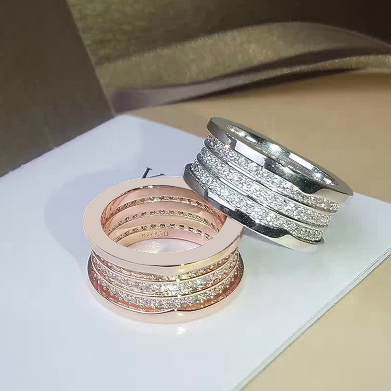 Luxury new 316L Stainless steel Three row Spring full grain drill and CZ ring 18K rose gold thread wedding ring couple jewelry gj303 rhinestones 316l stainless steel couple s ring black silver size 9 7 2 pcs