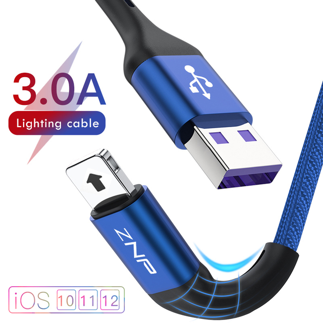 ZNP USB Cable For iPhone X Charger Charging Cable for iPhone 8 7 6 6s plus USB Data Cable Phone Cord Adapter