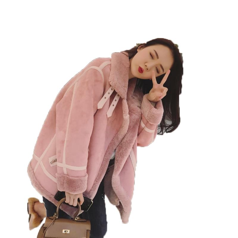 Réel Manteau De Fourrure Automne Hiver Veste Femmes Vêtements 2018 Laine Veste En Daim En Cuir Coréen Élégant Slim Fit Parka Femmes Tops ZT610
