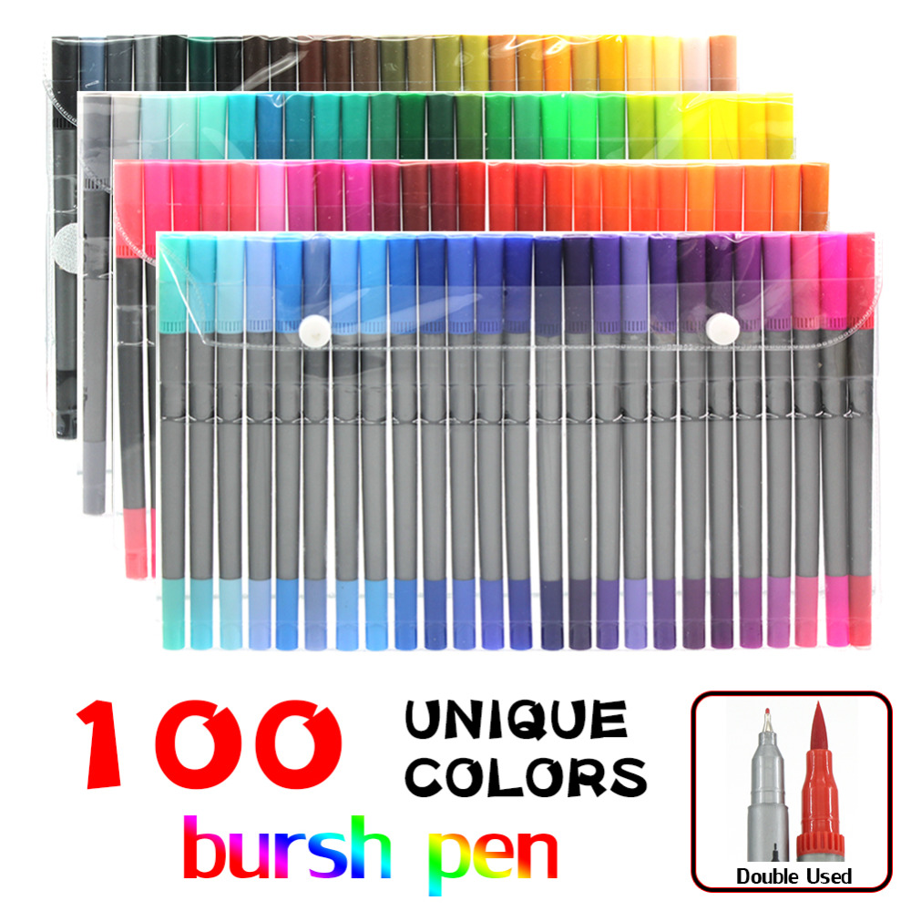 100 Color Brush Pens with Fineliner Tip Dual Tip Marker Pens for Coloring Book Sketching Painting Drawing Manga Fashion touchnew 60 colors artist dual head sketch markers for manga marker school drawing marker pen design supplies 5type