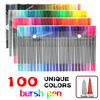 100 Color Brush Pens With Fineliner Tip Dual Tip Marker Pens For Coloring Book Sketching Painting