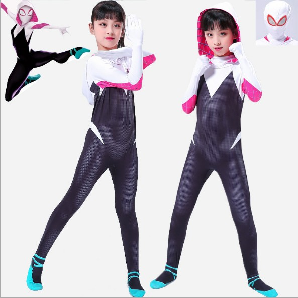 Adult Kids Gwen Stacy Costume Cosplay Spider-Man: Into the Spider-Verse Gwen Stacy Spandex Lycra Zentai Bodysuit Carnival Party