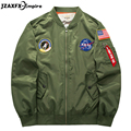 2017 Spring Mens Bomber Jacket Nasa Design O Neck Men Pilot Jacket Coat Plus size 6XL USA Flag Embroidery veste homme