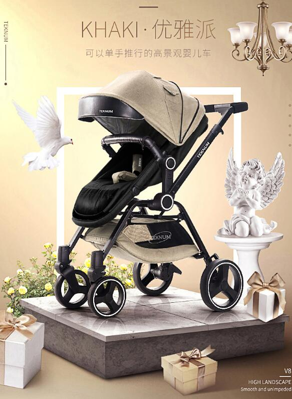 Two-way implementation of baby strollers can sit reclining folding lightweight strollers 0-3 years old baby newborn strollerTwo-way implementation of baby strollers can sit reclining folding lightweight strollers 0-3 years old baby newborn stroller
