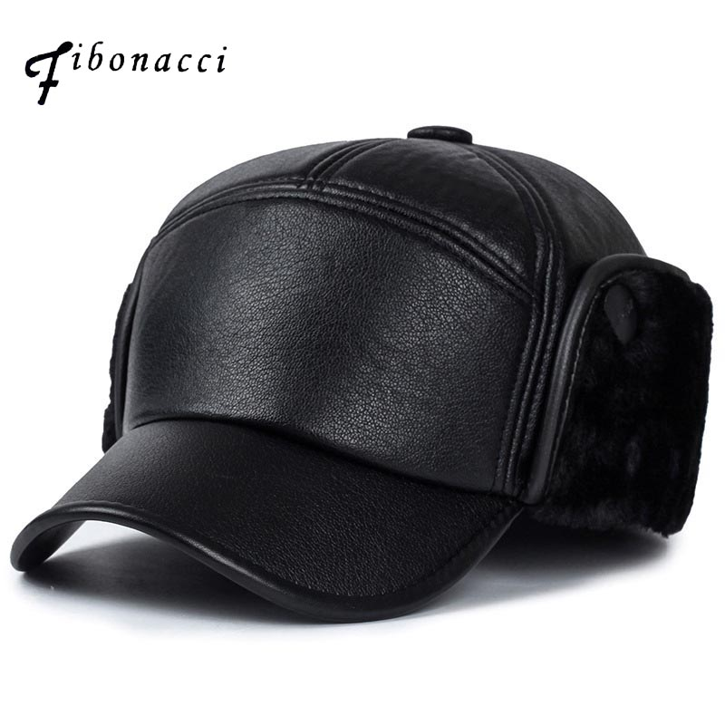 Fibonacci winter men's   baseball     cap   warm plus thick velvet earflap hat black snap back dad   cap