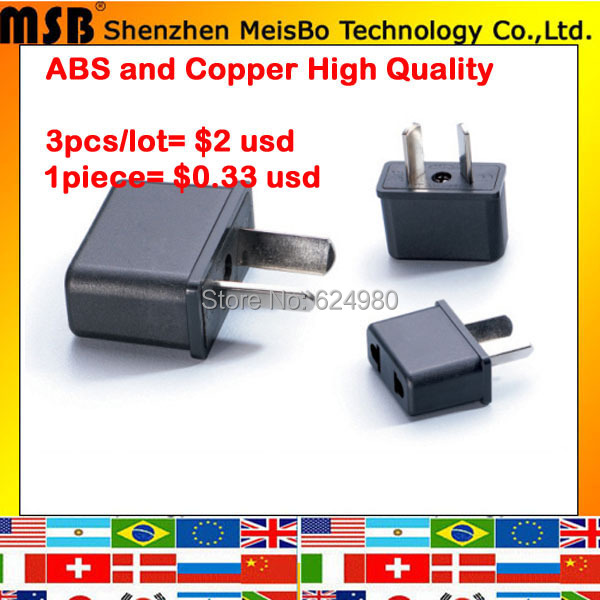 Universal copper black Aus 5pcs US EU to Australia Electrical AC power plug travel Converter Adapter Free shipping