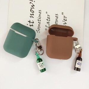 Image 3 - קוריאני חמוד באר עיצוב בקבוק סיליקון אוזניות מקרה עבור אפל Airpods אביזרי Bluetooth אוזניות מגן כיסוי מפתח טבעת