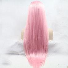 قنبلة الطفل وردي طويل مستقيم الباروكة الشعر الاصطناعية الدانتيل الجبهة الباروكات مقاومة للحرارة الألياف الناعمة شعري الطبيعي للنساء الباروكات