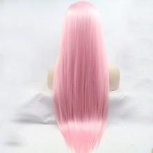 Парик Bombshell, длинный, прямой, розовый, синтетический, передний, термостойкий, мягкий, натуральный, для женщин