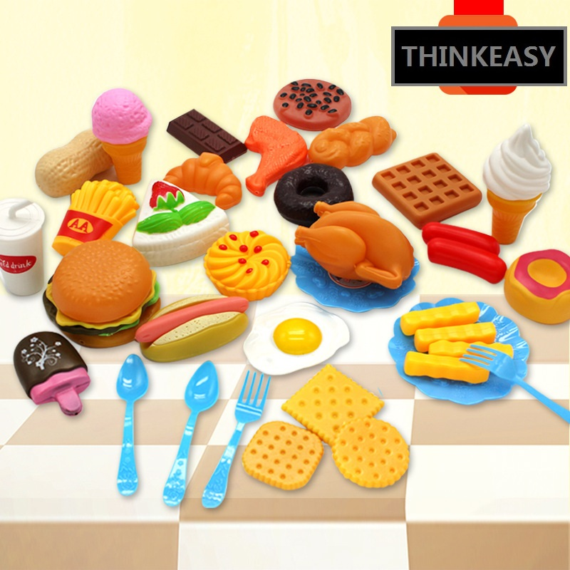 35 PCS/SET Simulation Children Early Education Toy With Food Theme Cute Kitchen Toys For Family Game hot sale set plastic kitchen food fruit vegetable cutting toys kids baby early educational toy pretend play cook cosplay safety