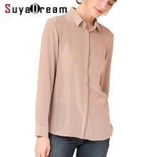 f50e10b881f Женская шелковая рубашка 23 мм Тяжелый 100% натуральный шелк кнопка с  длинными рукавами Повседневный Топ