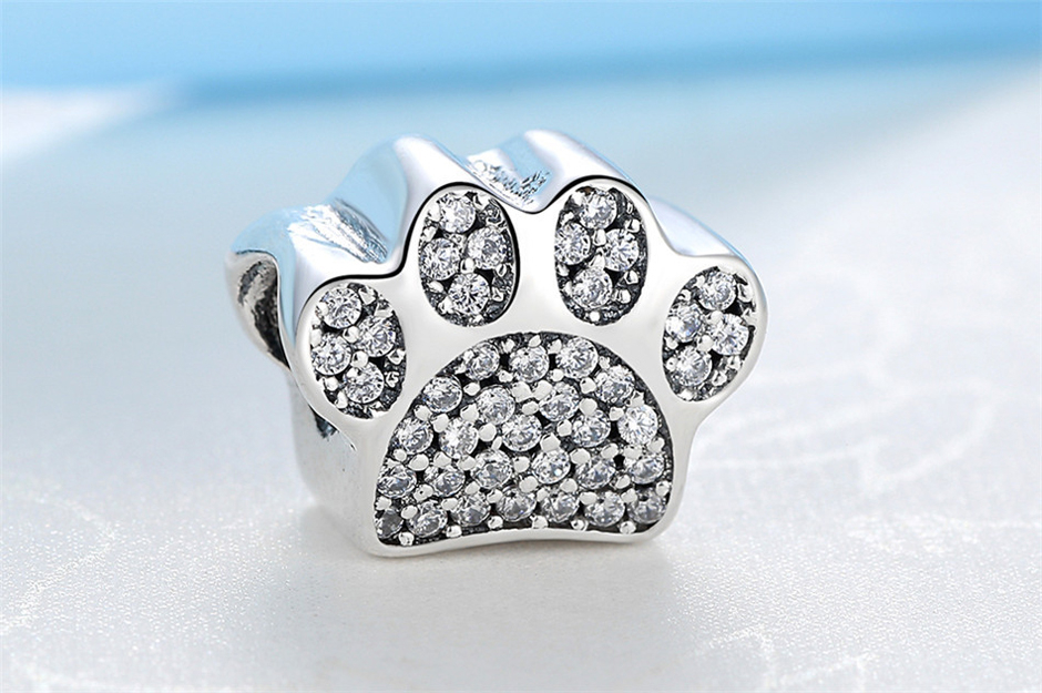 Аутентичные бусины из стерлингового серебра 925 милые отпечатки собачьих лап кошка сова животное Шарм подходят оригинальные Пандора браслеты амулеты «сделай сам» ювелирные изделия