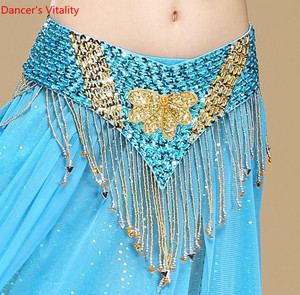 Image 5 - Oryantal dans kemer el yapımı çiçek Shining Sequins cıngıllı şal altın mor kırmızı mavi siyah ücretsiz kargo
