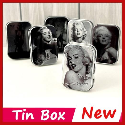 Vintage Super star Marilyn Monroe Tin Box Jewelry Condom Storage