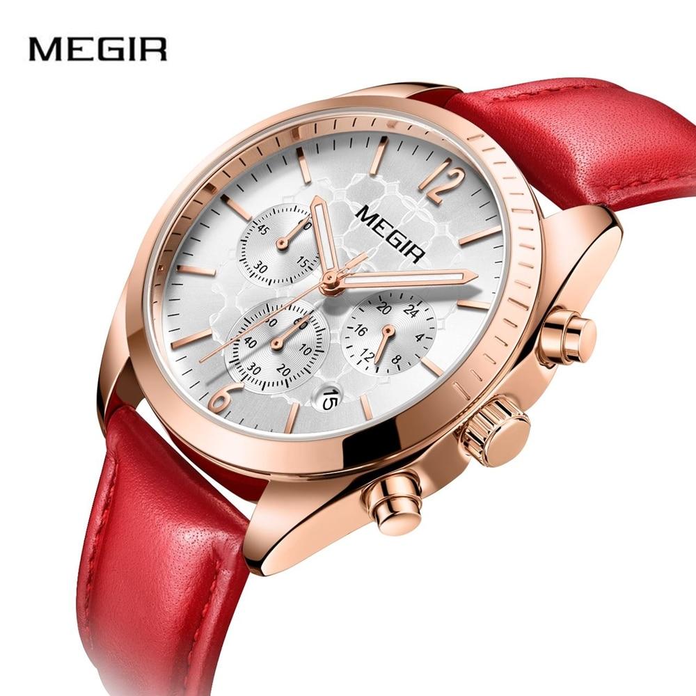 MEGIR Luxury Auto Date Quartz Ladies Watch  Leather  Fashion Watch Women Clock Reloj Mujer Women Watches Band Chronograph