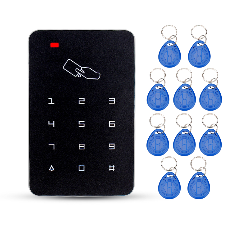 Black standalone door access controller 125KHz RFID card reader with keys electric password lock for door access control system rfid card reader door access controller