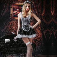 MQUPIN 6pcs French Maid Costume Cosplay Dresses Sweet Lace Hot Night Clubwear Fancy Adult Game lenceria cosplay sex play Robe