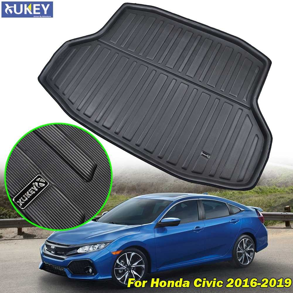 For Honda Civic Sedan 2016 2017 2018 2019 10th Gen Boot Tray Cargo Liner Floor Mat Carpet Rear Trunk Mat Tray Mud Protector