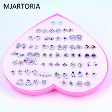 MJARTORIA 36Pairs Fashion Heart Boxed Earrings Mini Stud Earrings Set Jewelry Sets Multiple Rhinestone Metal Earrings For Women