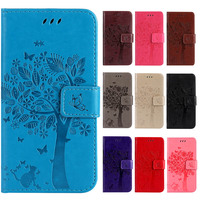 PU Leather Flip Phone Case For Samsung galaxy J7 2017 J730 Tree and cat Embossing Wallet case with Stand Card Holder Bag cover