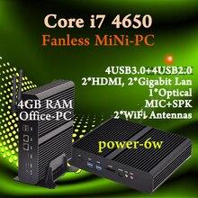 Мини пк Intel core i7 4650U Безвентиляторный Barebone HTPC Intel Nuc Без бродуэлл Graphique HD 5500 300 М Wifi ПК 4 ГБ RAM лучшая еда