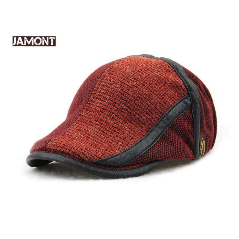 JAMONT Winter Hats Caps Visors-Cap Berets Knitted Warm Men's Brand Patchwork for England-Style
