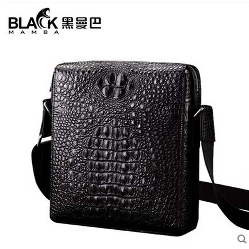 2018 heimanba Crocodile man bag single shoulder bag business casual leather man slant bag vertical black small bag