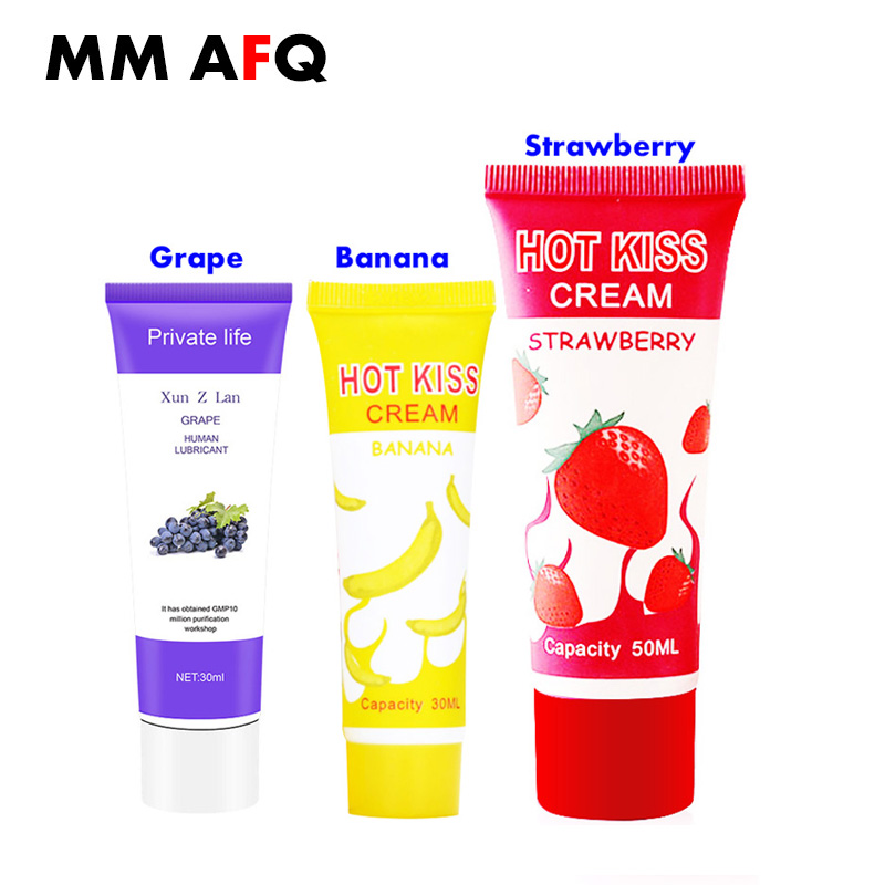 Water Soluble Anal Lubricant Banana Cream Scented Lube Massage Oil Edible Fruit Flavour Grape Oral Sex Grease Licks Vaginal Gel(China)