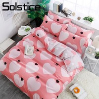 Solstice Home Textile King Queen Full Twin Bedding Suit Girl Kid Adult Woman Bed Linens Pink Heart Duvet Cover Pillow Case Sheet