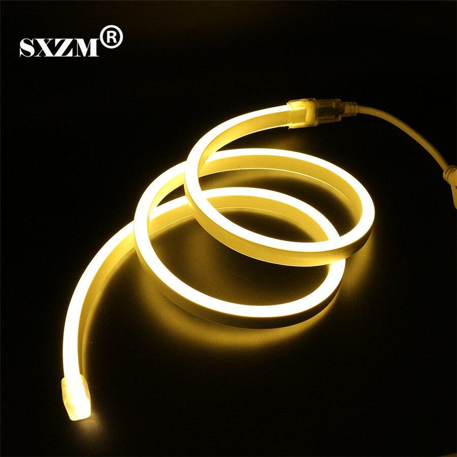 SXZM 120led/M 220 V 2835 Neon luce di striscia principale IP68 Impermeabile Flessibile illuminazione Fata con la spina di UE, Outdoor decorazione di festival