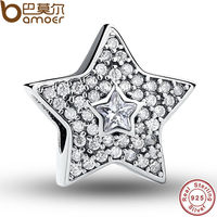 Authentic 925 Sterling Silver Wishing Star Charm Fit Pandora Bracelet With Clear Cubic Zirconia DIY Accessories