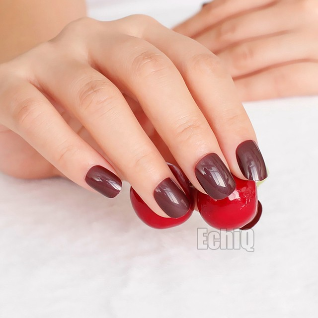 Poisoning Red Press On Nails Extra Short Dark Kids Size False Nail Tips 24pcs Perfect For Daily Wear P179k