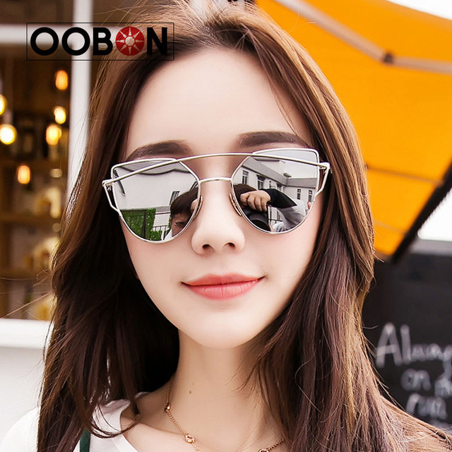 fffd9f27d26 2017 Pink vintage Mirror female Women Cat Eye Sunglasses Brand Designer  Twin-Beams ladies Sun glasses for women Oculos Feminino