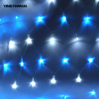 YINGTOUMAN 500bulbs LED Fishing Net Light Christmas Party Spider Web Party Decorate Lamps Circular Spider Light 1.5*1.5M