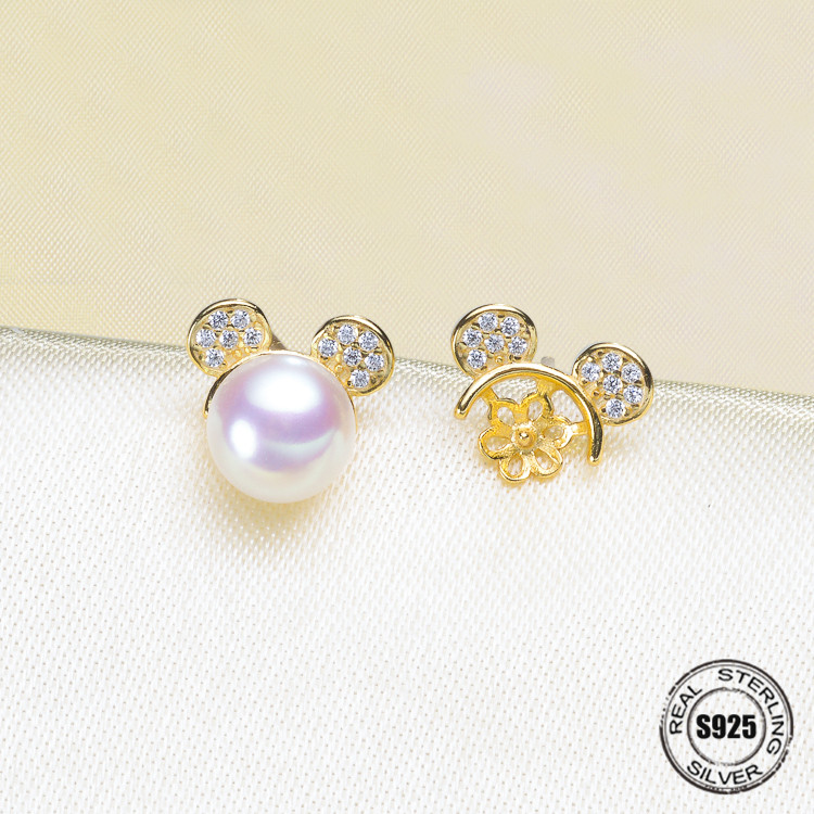 DIY Jewellery making S925 sterling silver Earrings fittings of designed for the oyster pearl beads jewelry findings accessories