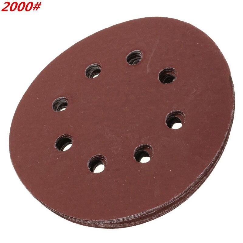 10pcs 5 Inch 125mm Sander Disc Round Sandpaper Eight Hole Disk Sand Sheets Grit 60-2000 Hook & Loop Sanding Disc Polish Tools