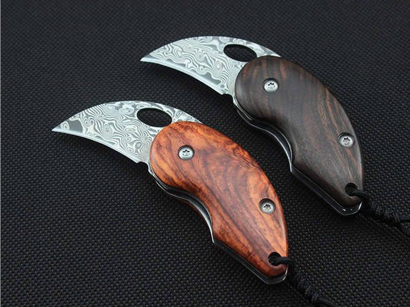 58-60HRC Дамасская стальная рукоятка из сандалового дерева карманный складной нож утилита выживания Портативные полевые ножи для кемпинга EDC инструменты