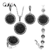 Gukin Black Broken Stone Wedding Jewelry Sets For Women Pendant Statement Necklace Earrings Rings Fine Engagement Jewelry Set