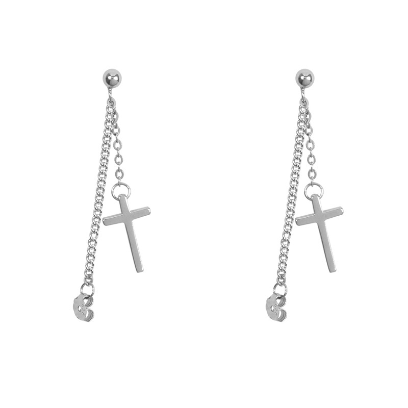 925 Solid Sterling Silver Cross Tassel Charm Drop Earrings for Women Jewelry Party Accessories pendientes Brincos eh1034 2