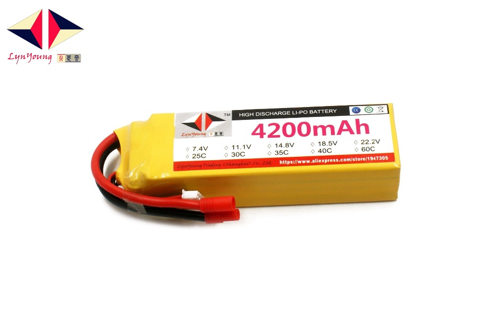 Rechargeable LYNYOUNG lipo battery 4200mAh 14.8V 40C 4S for RC Car Bike Truck Drone Helicopter Quadcopter 6Axis