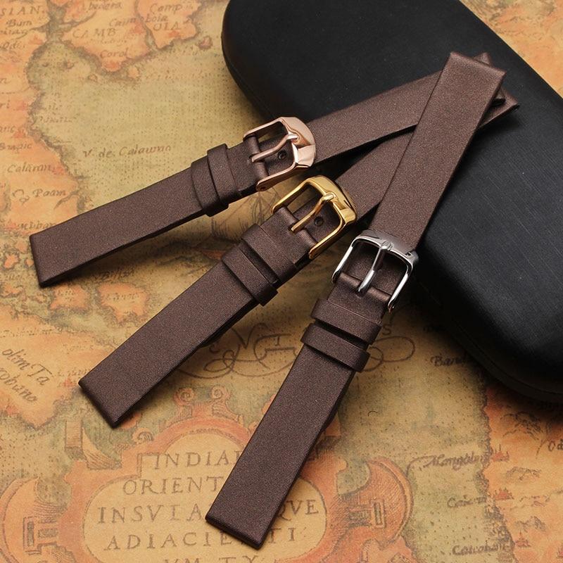 High Quality Spun silk Genuine Leather Watchband brown bracelets soft 14mm 15mm 16mm 18mm 20mm Ladies