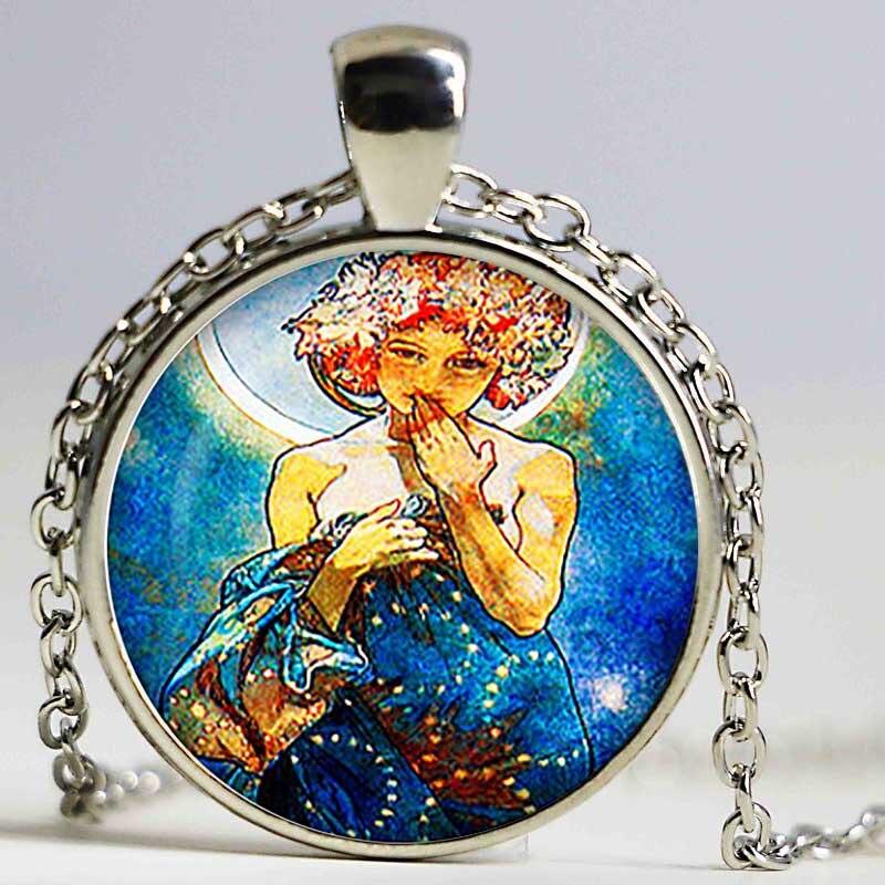 Cabochon en verre Art Nouveau pendentif de fée Alphonse Mucha Art dôme en verre bijoux accessoires