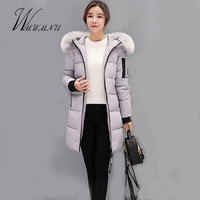 Wmwmnu Women Winter Hooded Coat Female Outerwear 2017 Fur Collar Plus Size 3XL Parka Ladies Warm Long Jacket Slim Thicken Coat