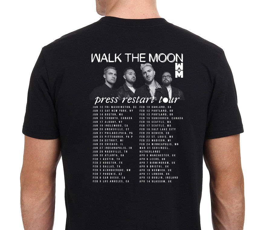 Walk The Moon Press Restart Tour 2018 W Dates Mens T-Shirt Black Size: S -XXL