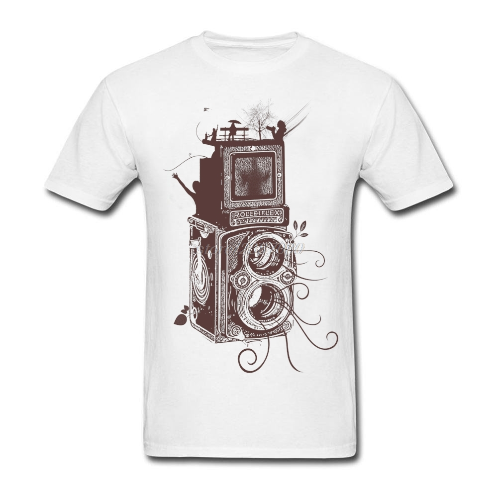 Design t shirts and sell online - Custom Made Retro Rolleiflex Evolution Of Photography T Shirts Man Crewneck Tee Shirt Design Hot Sale Cotton Mens T Shirts