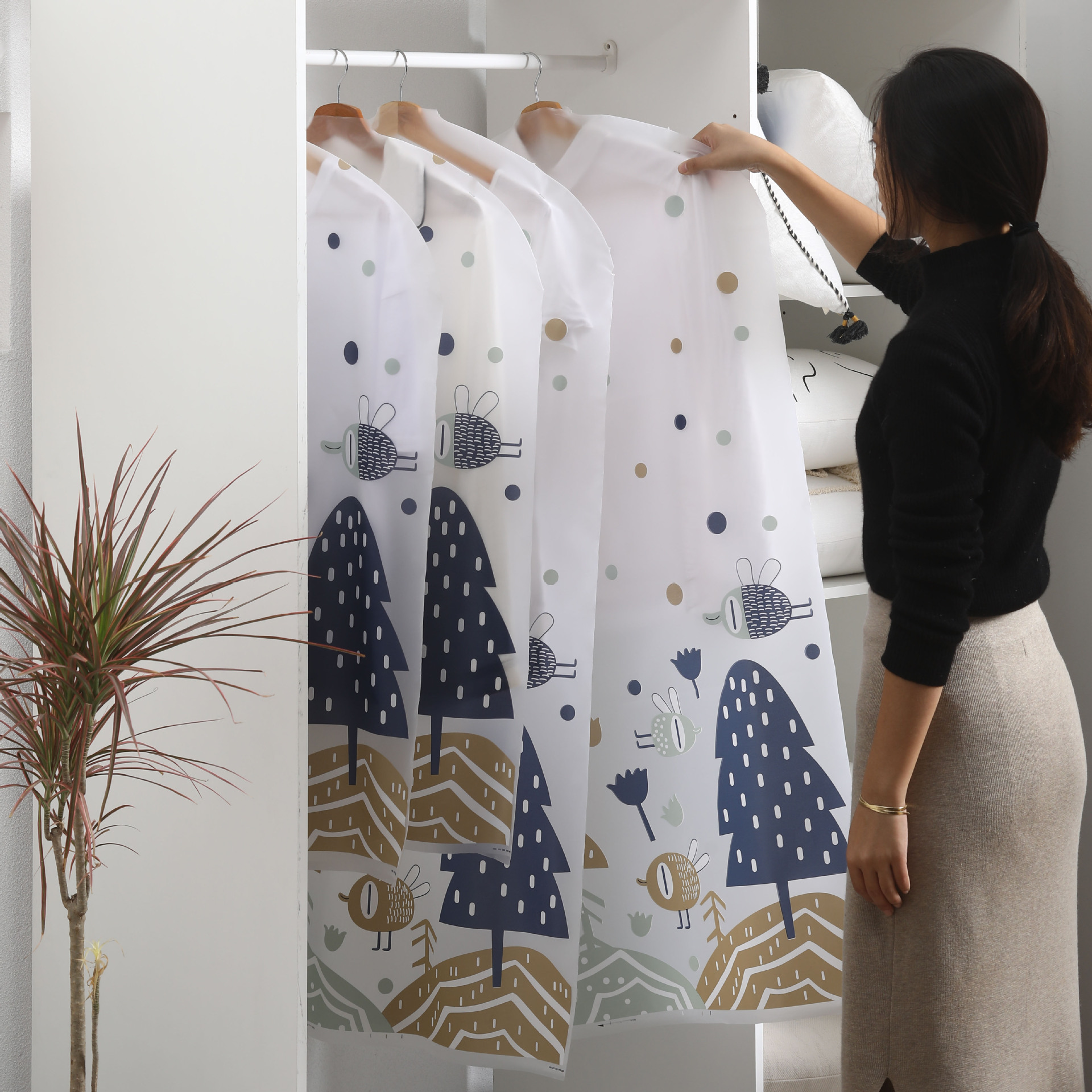 2pcs/set PEVA Printing Waterproof Suit Cover Coat Dust Cover Clothing Suit Dust Bag