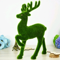Creative Artificial Grass Reindeer Turf Small Cute Animals Christmas Fake Deer Plastic Moss Stone Decorative Home Table Dispaly
